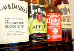 Jack Daniels Tennessee honey, jim beam apple, george dickel tabasco barrel finish, eastside distillery marionberry whiskey